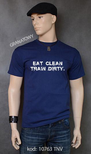 koszulka męska EAT CLEAN. TRAIN DIRTY. kolor granatowy