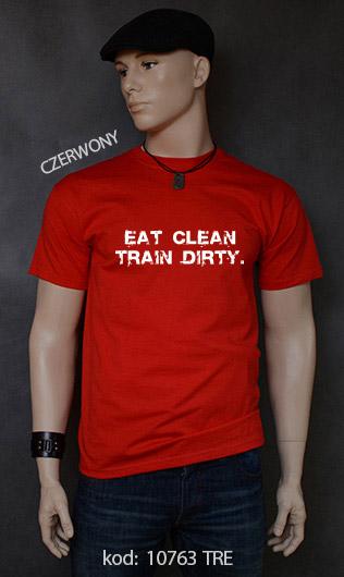 koszulka męska EAT CLEAN. TRAIN DIRTY. kolor czerwony