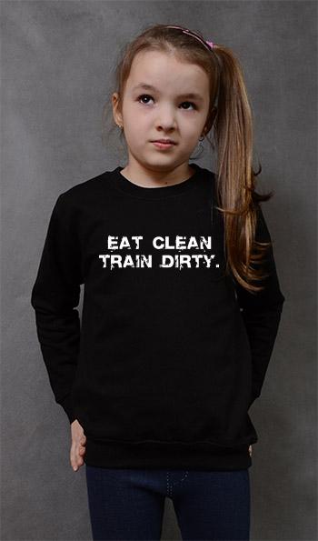 bluza dziecięca EAT CLEAN. TRAIN DIRTY. kolor czarny