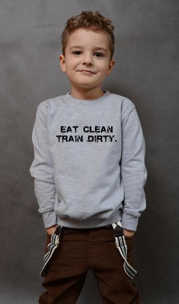 bluza dziecięca EAT CLEAN. TRAIN DIRTY. kolor szary