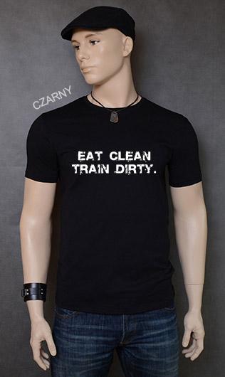 koszulka męska EAT CLEAN. TRAIN DIRTY. kolor czarny