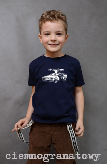 koszulka chłopięca SAMOCHÓD OSOBOWY kolor ciemnogranatowy