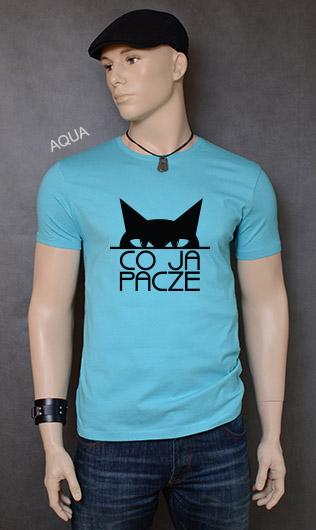 koszulka męska CO JA PACZE kolor aqua