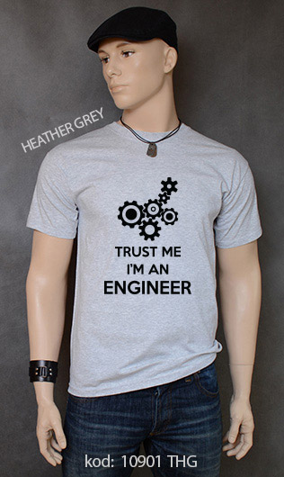 koszulka męska TRUST ME I'M AN ENGINEER kolor heather grey