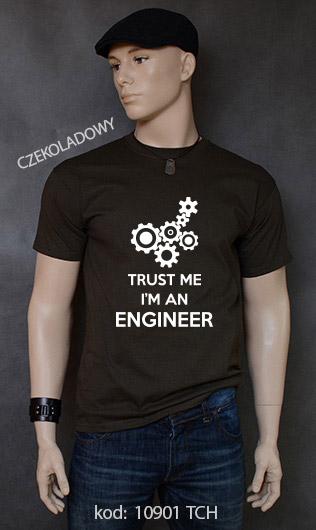 koszulka męska TRUST ME I'M AN ENGINEER kolor czekoladowy