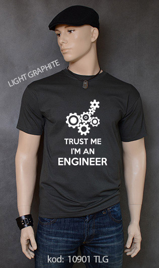 koszulka męska TRUST ME I'M AN ENGINEER kolor light graphite