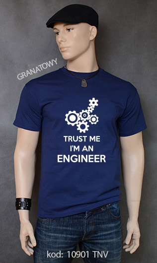 koszulka męska TRUST ME I'M AN ENGINEER kolor granatowy