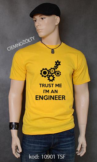 koszulka męska TRUST ME I'M AN ENGINEER kolor ciemnożółty