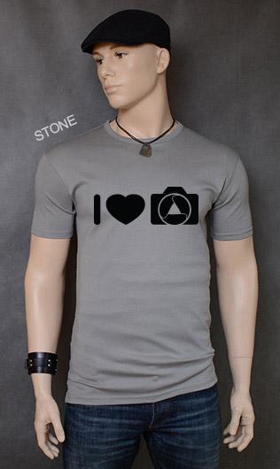 koszulka męska I LOVE PHOTOGRAPHY kolor stone