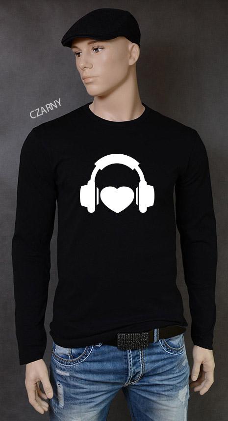 longsleeve męski I LOVE MUSIC kolor czarny