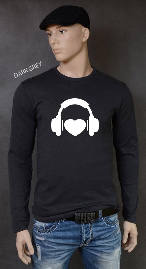 longsleeve męski I LOVE MUSIC kolor dark grey