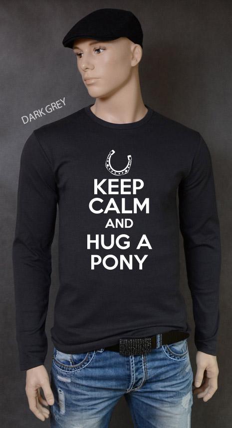 longsleeve męski KEEP CALM AND HUG A PONY kolor dark grey