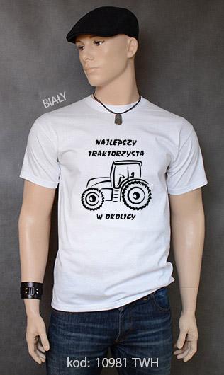 koszulka męska NAJLEPSZY TRAKTORZYSTA W OKOLICY kolor biały