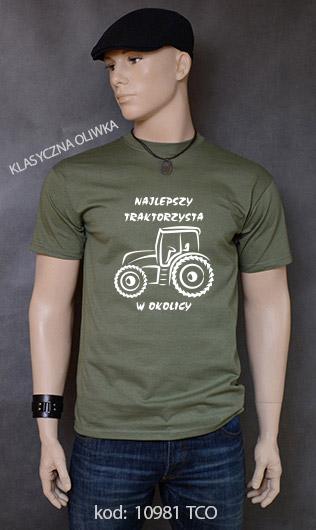 koszulka męska NAJLEPSZY TRAKTORZYSTA W OKOLICY kolor klasyczna oliwka
