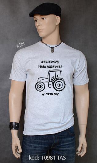 koszulka męska NAJLEPSZY TRAKTORZYSTA W OKOLICY kolor ash