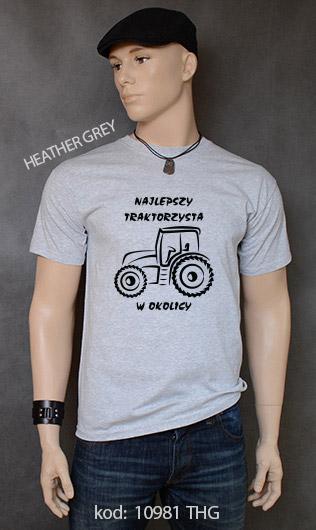 koszulka męska NAJLEPSZY TRAKTORZYSTA W OKOLICY kolor heather grey