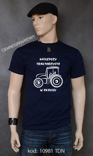 koszulka męska NAJLEPSZY TRAKTORZYSTA W OKOLICY kolor ciemnogranatowy