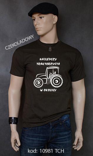koszulka męska NAJLEPSZY TRAKTORZYSTA W OKOLICY kolor czekoladowy