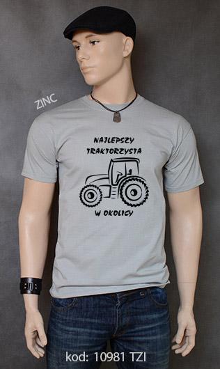 koszulka męska NAJLEPSZY TRAKTORZYSTA W OKOLICY kolor zinc