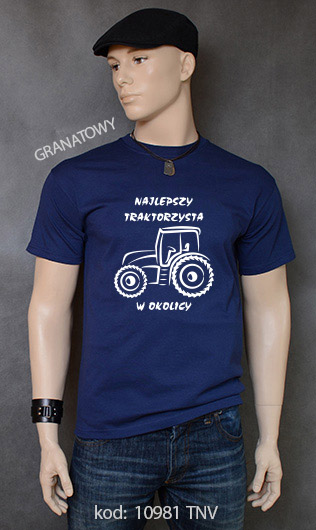 koszulka męska NAJLEPSZY TRAKTORZYSTA W OKOLICY kolor granatowy