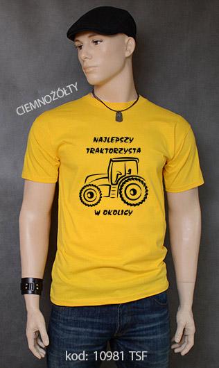 koszulka męska NAJLEPSZY TRAKTORZYSTA W OKOLICY kolor ciemnożółty