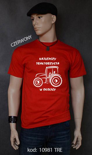 koszulka męska NAJLEPSZY TRAKTORZYSTA W OKOLICY kolor czerwony