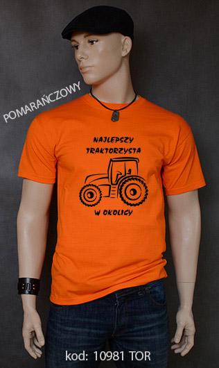 koszulka męska NAJLEPSZY TRAKTORZYSTA W OKOLICY kolor pomarańczowy