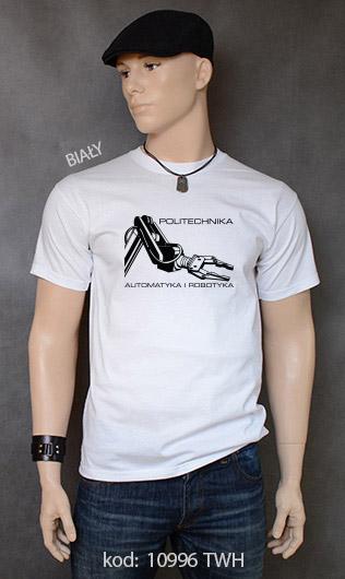 koszulka męska POLITECHNIKA AUTOMATYKA I ROBOTYKA kolor biały