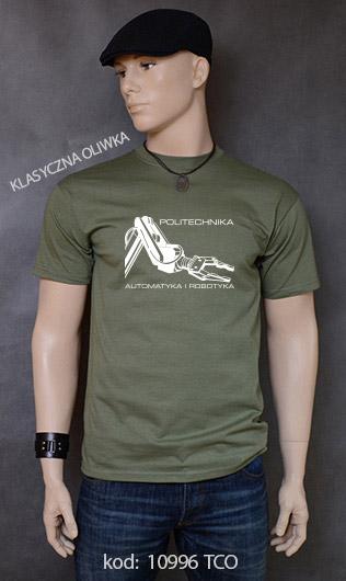 koszulka męska POLITECHNIKA AUTOMATYKA I ROBOTYKA kolor klasyczna oliwka