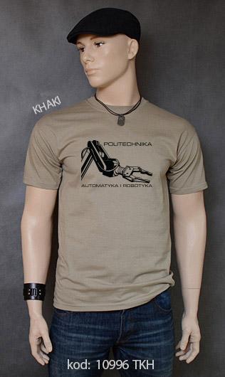 koszulka męska POLITECHNIKA AUTOMATYKA I ROBOTYKA kolor khaki