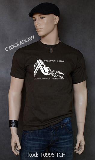 koszulka męska POLITECHNIKA AUTOMATYKA I ROBOTYKA kolor czekoladowy