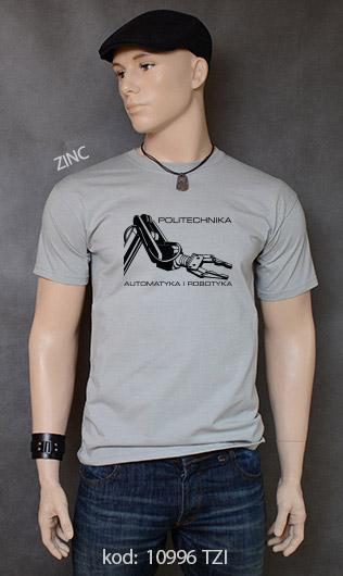 koszulka męska POLITECHNIKA AUTOMATYKA I ROBOTYKA kolor zinc