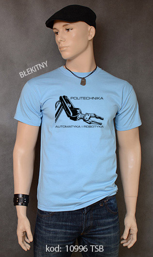 koszulka męska POLITECHNIKA AUTOMATYKA I ROBOTYKA kolor błękitny