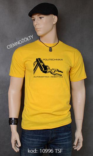 koszulka męska POLITECHNIKA AUTOMATYKA I ROBOTYKA kolor ciemnożółty