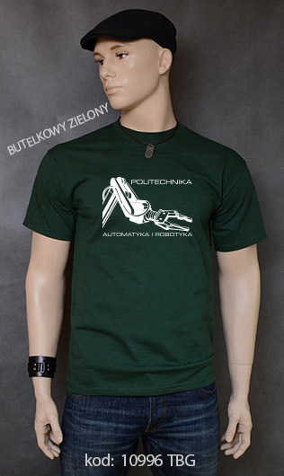 koszulka męska POLITECHNIKA AUTOMATYKA I ROBOTYKA kolor butelkowy zielony