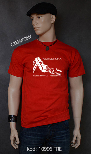 koszulka męska POLITECHNIKA AUTOMATYKA I ROBOTYKA kolor czerwony