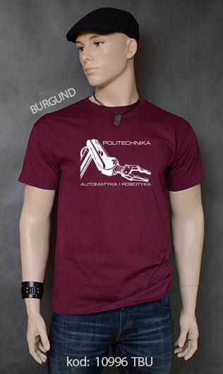 koszulka męska POLITECHNIKA AUTOMATYKA I ROBOTYKA kolor burgund