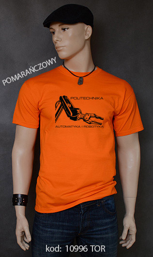 koszulka męska POLITECHNIKA AUTOMATYKA I ROBOTYKA kolor pomarańczowy