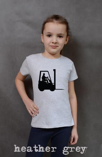 koszulka dziewczęca WÓZEK WIDŁOWY kolor heather grey