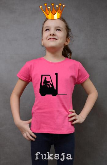 koszulka dziewczęca WÓZEK WIDŁOWY kolor fuksja