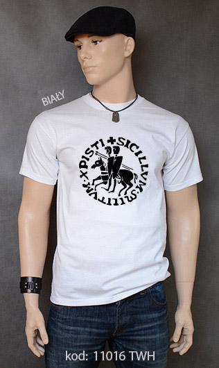 koszulka męska PIECZĘĆ ZAKONU TEMPLARIUSZY kolor biały