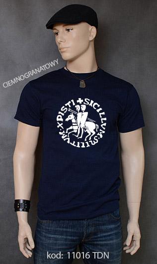 koszulka męska PIECZĘĆ ZAKONU TEMPLARIUSZY kolor ciemnogranatowy