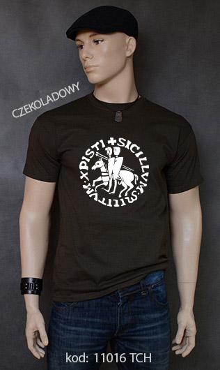 koszulka męska PIECZĘĆ ZAKONU TEMPLARIUSZY kolor czekoladowy