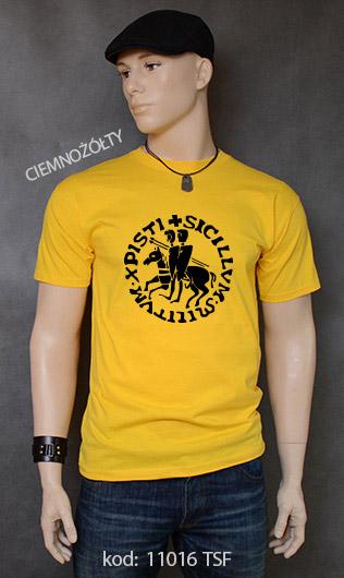 koszulka męska PIECZĘĆ ZAKONU TEMPLARIUSZY kolor ciemnożółty