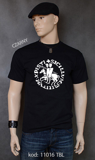 koszulka męska PIECZĘĆ ZAKONU TEMPLARIUSZY kolor czarny
