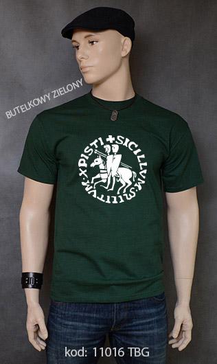koszulka męska PIECZĘĆ ZAKONU TEMPLARIUSZY kolor butelkowy zielony