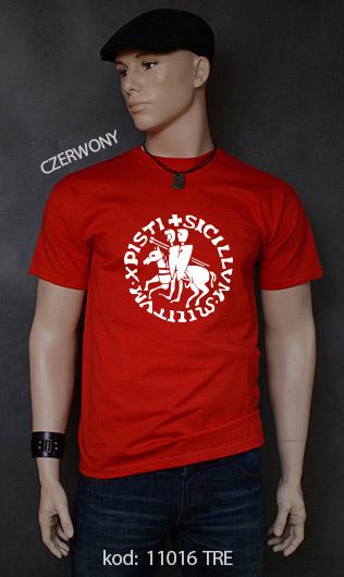 koszulka męska PIECZĘĆ ZAKONU TEMPLARIUSZY kolor czerwony