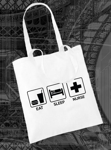 torba na zakupy EAT SLEEP NURSE kolor biały