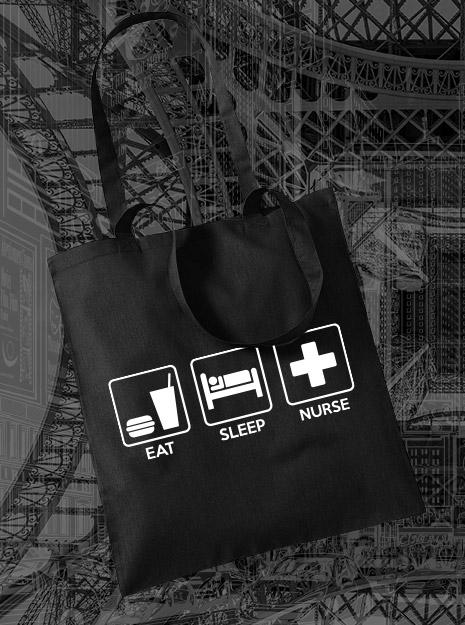 torba na zakupy EAT SLEEP NURSE kolor czarny
