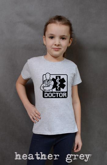 koszulka dziewczęca DOCTOR kolor heather grey